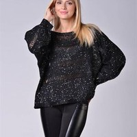 Cristina Dea Cut-Out & Sequin Embellished Sweater Made In Italy - Colorful Summer Staples, Made in Italy - Modnique.com