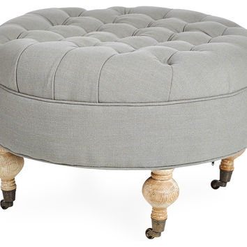 James Round Ottoman, Gray, Ottomans
