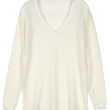 White V-neck Relaxed Knit Sweater