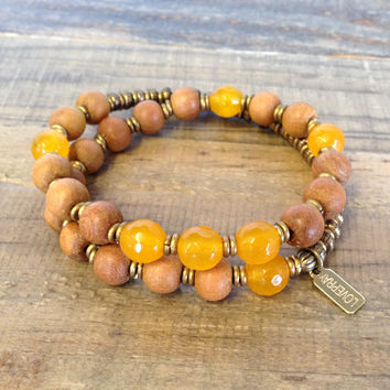 "Sandalwood and Yellow Jade ""Third Chakra"" 27 Beads Wrap Mala Bracelet"