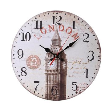 Modern Design Non-Ticking Silent Antique Wood Wall Clock for Home