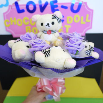 Another Japanese Cartoon White Bears with Ferrero Rocher Chocolates in a Flower Bouquet. Unique gift for the special occasion!