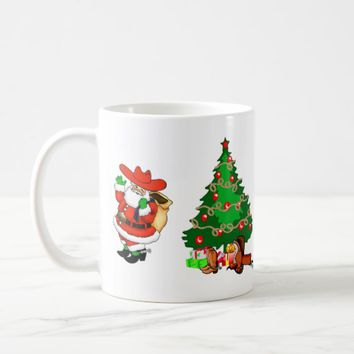 Western Christmas Cowboy Santa And Tree Coffee Mug