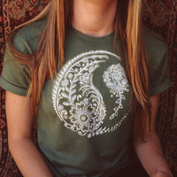 Paisley Yin Yang shirt-  made to order