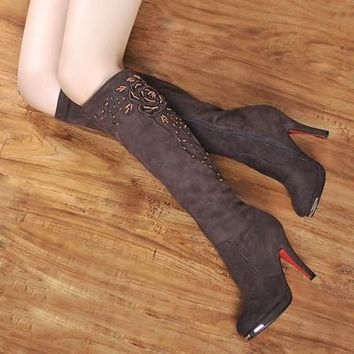 Women's Boots High Heels Knee High Boots Motorcycle Shoes