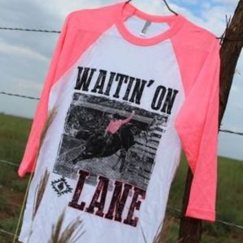 """WAITIN' ON LANE"" BASEBALL TEE-preorder- will ship approx 12/17/13"