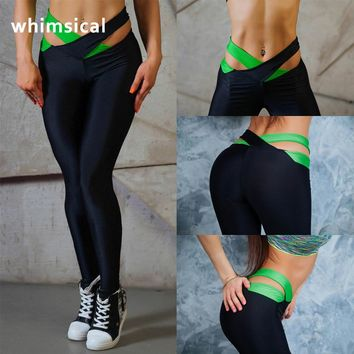 Women'S PUSH UP Running Sport Pant Yoga Leggings Fitness Capri Sportswear Striped Tights jogger FREE SHIPPING