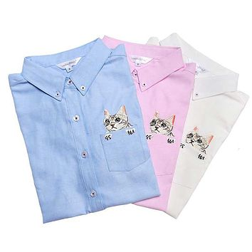Spring Autumn Women Blouse Cat Dog Embroidery Long Sleeve Work Wear Shirt Ladies Office Tops White Shirts Business Blusas