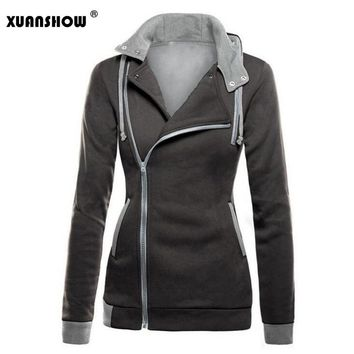 Sudadera Mujer 2018 New High Quality Winter Women's Hoodies Long Sleeve Warm Zip-up Sweatshirt Zipper Fleece Hoody Cotton Tops