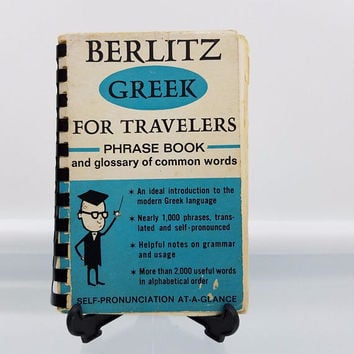 Greek for Travelers Berlitz Phrase Book Glossary of Words Spiral-bound 1966 Travelers Phrase Book