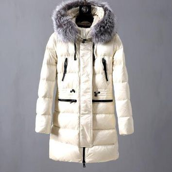 Moncler Women's long section plus cotton down jacket fashionable jacket / beige