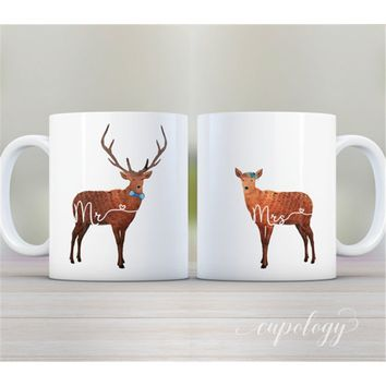 Mug Set, Deer, Mr and Mrs, Wedding Gift, Bridal Shower Gift, His and Hers, Personalized Mug, Couples Gift, Anniversary Gift, Cof