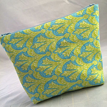 Lime green & baby blue cotton print fabric cosmetic bag organizer pouch makeup bag