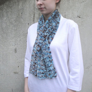 Chenille Keyhole Scarf, Blue & Brown, Office Scarflette, Pull Through Ascot Neck Warmer
