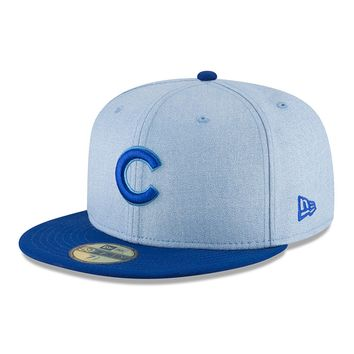 Men's Chicago Cubs New Era Light Blue 2018 Father's Day On Field 59FIFTY Fitted Hat