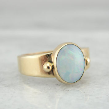 Gorgeous Handmade Gold Ring Set with Fine Opal 4E208A - P