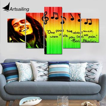 Decorative Painting 5 Piece HD Printed bob marley  quote inspiration Painting Canvas Print Room Decor Poster Picture Canvas Art