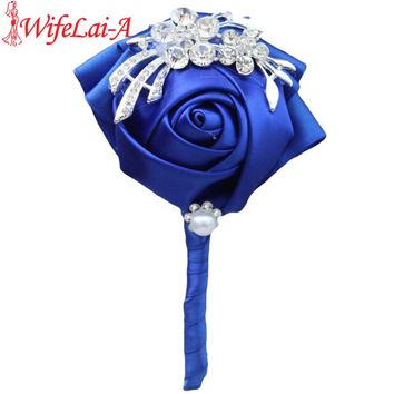 WifeLai-A 2pc/lot Handmade Pure Color Bouquet Corsage Diamond Rose Accessories for Wedding Bride and Groom Custom Color X1104