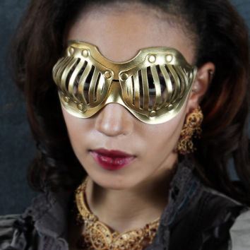 Eyecage Leather Mask in Gold by TomBanwell on Etsy