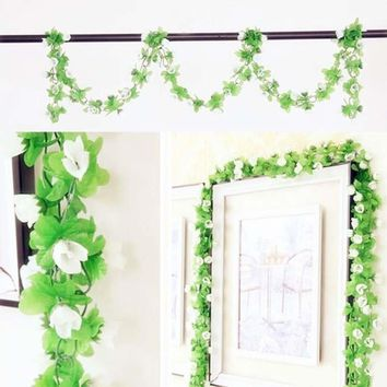 Fake Silk Rose Flower Artificial Flower Ivy Vines Garland Wall Home Party Floral Decoration