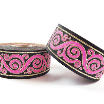 Pink Gold Black Swirl Curl Motif Woven Embroidered Jacquard Trim Ribbon - 1 Meter or 3.3 Feet or 1.09 Yards