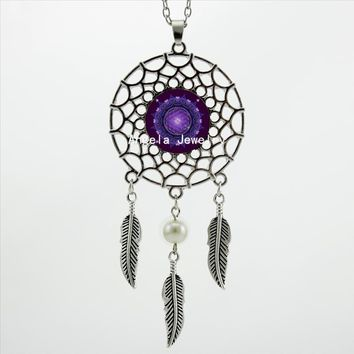 2017 Trendy Style Purple Mandala Necklace Flower of Life Pendant Dream Catcher Pendant Dreamcatcher Necklace DC-00217