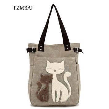 FZMBAI Fashion Women's Handbag Cute Cat Tote Bag Lady Canvas Bag Shoulder bag