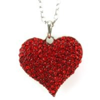 Big Love Red Heart Valentine's Day Pendant Necklace Charm Rhinestones Ladies Women Fashion Jewelry