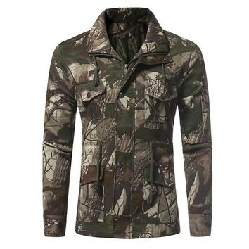 Mens Jacket 2017 Lapel Collar Fitted Casual Military Coat Autumn Buttons Zip Drawstring Waist  Long Sleeve Camouflage Tracksuit