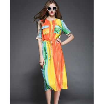 Vintage Colorful Print with Front Two Pockets Ribbon Belt Straight Dress