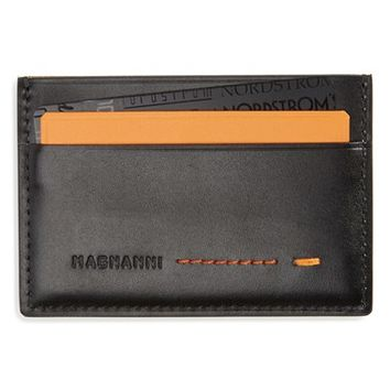 Men's Magnanni 'Ibero' Leather Card Holder - Black