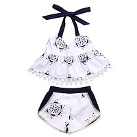 2Pcs Blue white porcelain baby girls clothes set 2017 Newborn baby sleeveless tops +tassle shorts outfits