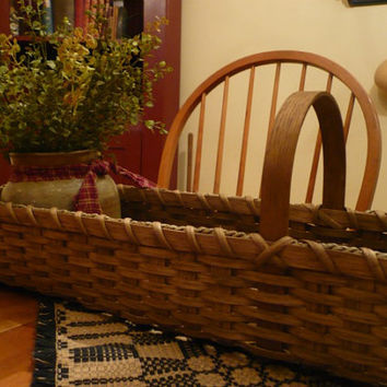 Primitive Handwoven Long & Skinny Basket, Storage Basket, Mantel Basket, Handmade, Buffet Centerpiece Basket, Gathering Basket, Prim Decor
