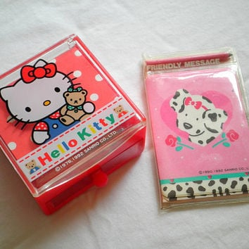 Vintage Spotty Dotty Sanrio Mini Message Set and Hello Kitty Mini Memo Pad Drawer with Pen, Made in Japan, 1992