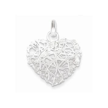 Sterling Silver Polished Puffed Heart Pendant