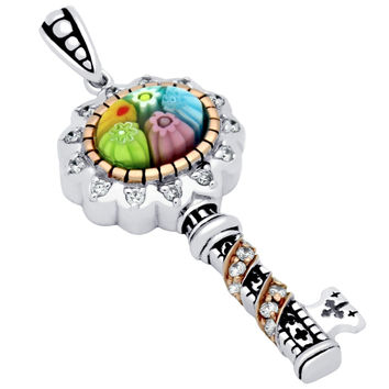"Sterling Silver Multicolor Glass Murano Millefiori Glass Pendant Oval Cabochon Cubic Zirconia Key (Free 18"" Chain)"