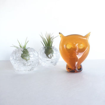 Vintage Blown Glass Owl Figurine, Blown Glass Amber Owl Paperweight