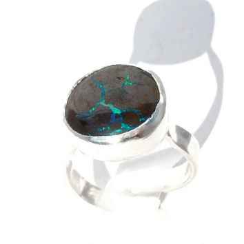 Adjustable Boulder Opal Ring in Sterling Silver- Veiny Matrix Opal