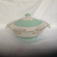 French Vintage Soup Tureen Mint Green And White Guilded Bowl