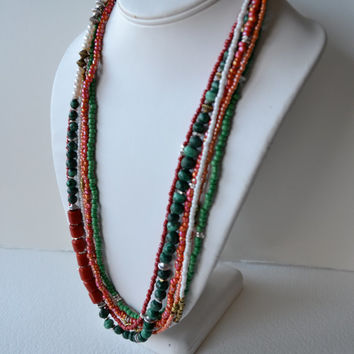 Statement necklace with sterling silver and colorful seed beads,  beaded colorful African, ethnic beaded necklace