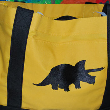 Dinosaur Tote, Triceratops, T Rex, Silk Screened Tote, Large bag, Yellow and black