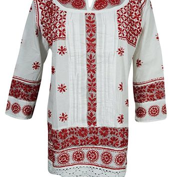 Mogul Womens Indian Tunic Shirt Cotton White Red Chikankari Embroidered Hippie Top Blouse