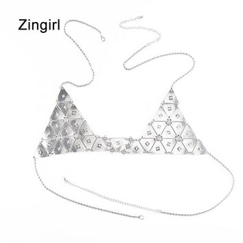 Zingirl Sequined Silver Fashion Bra Brassiere Women Hollow Out Party Sexy Bralettes Intimates Halter Chain Patchwork Lingerie