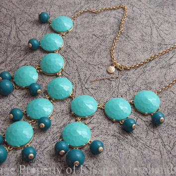 Bubble Necklace Teal Blue, J Crew Necklace Jewelry, Topper Quality,Easy to Match any Outfits,Bridesmaids Gift