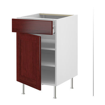 "AKURUM Base cabinet w shelf/drawer/door, white, Ramsjö red-brown - white - Ramsjö red-brown - 15 "" - IKEA"