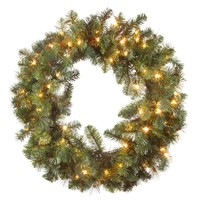 "Outdoor Lighted Artificial Pine Christmas Wreath - 30"" Wide"