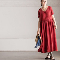 Red maxi dress cotton dress linen dress women long dress casual loose dress large dress cotton tops plus size dress