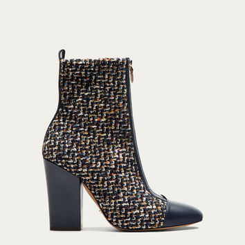 CONTRASTING FABRIC ANKLE BOOTS - Women - Massimo Dutti