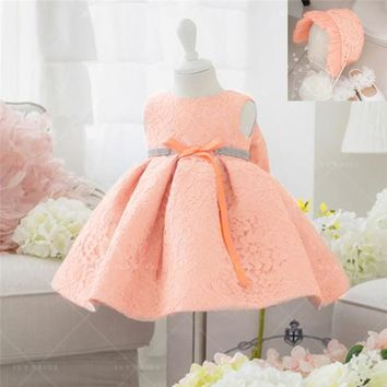 First Year Toddler Communion Dresses For Baby Tulle Mesh Infant Pageant Flower Toddler Birthday Dress for Baptism Party 1 Years