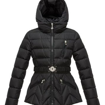 Girl's Moncler 'Bernadette' Belted Hooded Puffer Jacket,
